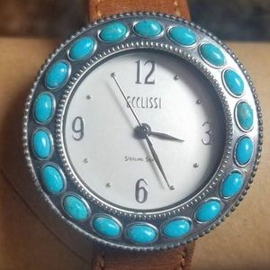 Preloved Sterling Silver Watch With Turquoise Face